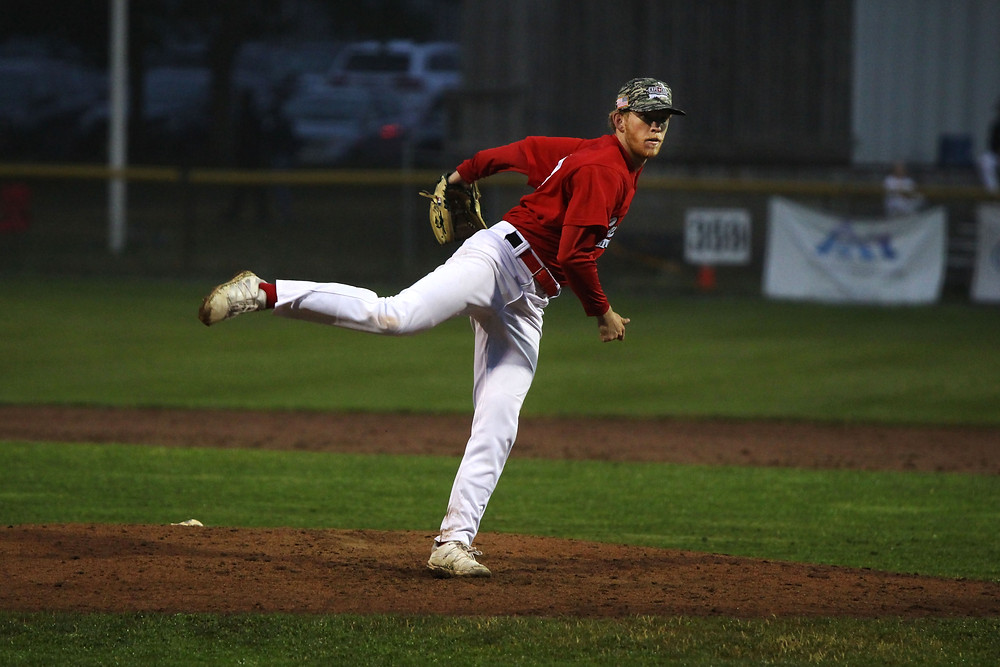 Starter Hayden Thomas on the mound