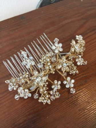 Gold, crystal, floral hair comb