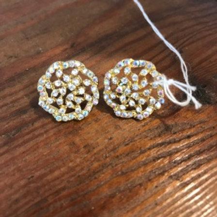 Gold filigree crystal earrings
