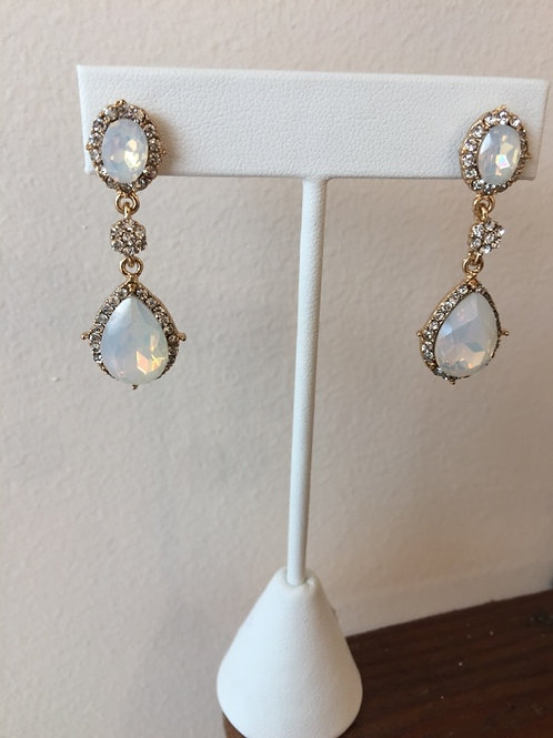 Opal Tear Drop and Crystal Earrings in Gold