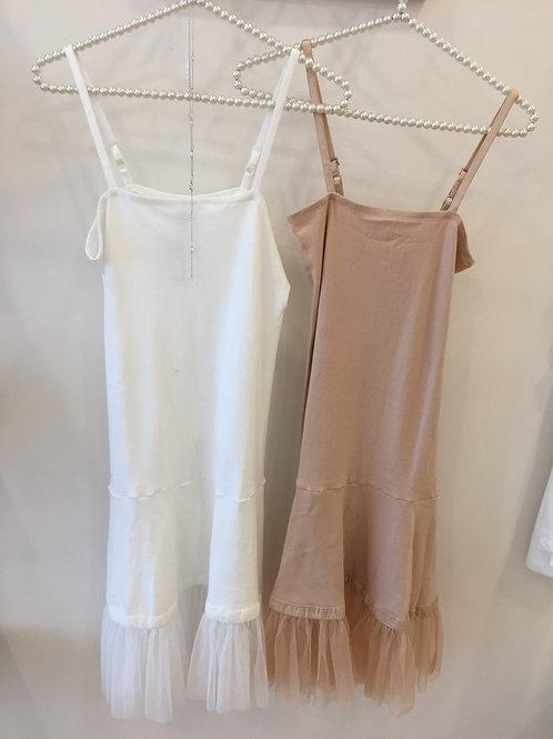 Tulle and Velvet Hemmed Slip Dress