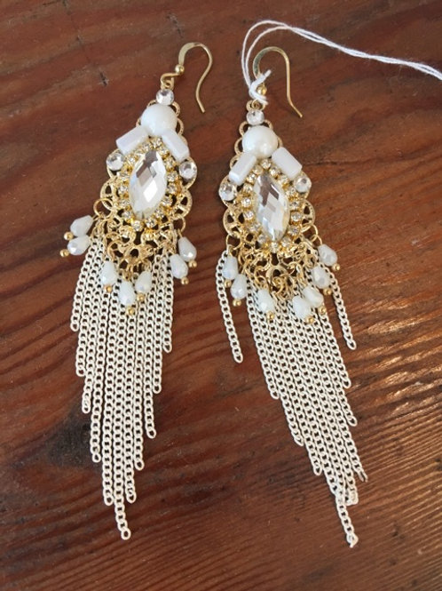 Boho Crystal and Gold Chain Chandelier Earrings