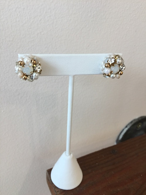 Crystal and Pearl Gold Stud