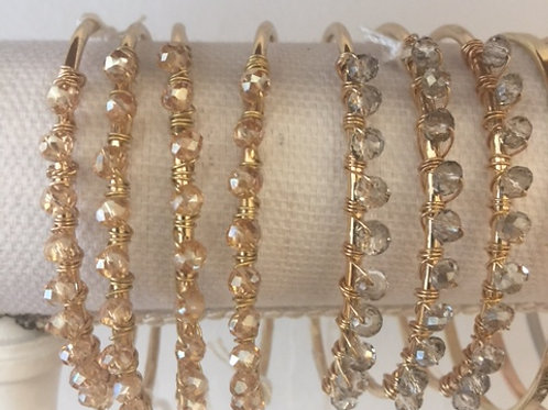 Gold and crystal beaded cuff bracelet