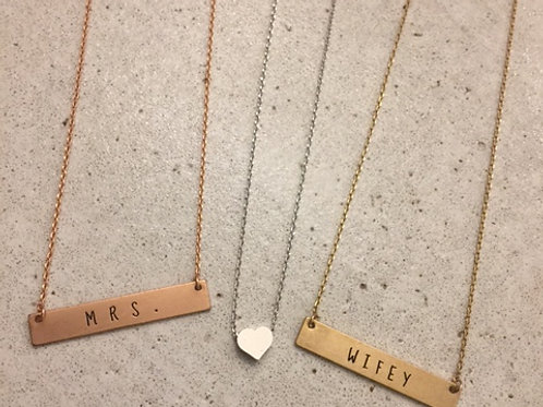 Quote Bar Necklaces and Heart Necklace