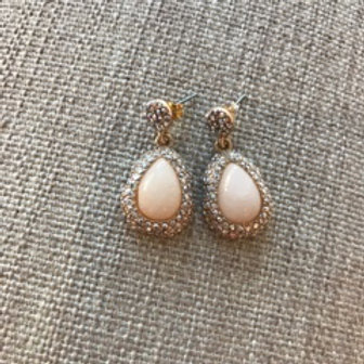 Gold Crushed Crystal and Pink Opal Teardrop Earrings