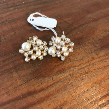 Abstract pearl and crystal earrings in gold