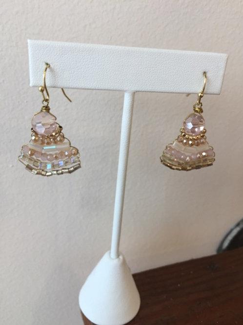 Beaded Gold Wire Drop Earrings