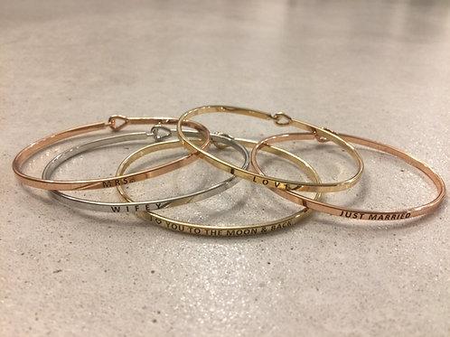 Metal quote bracelet