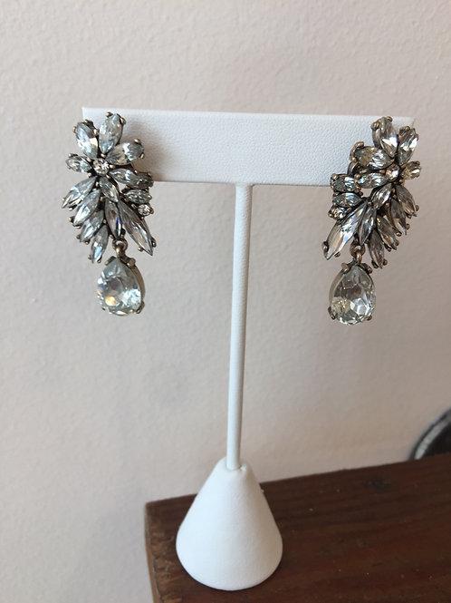 Vintage Inspired Floral Tear Drop Earrings in Silver