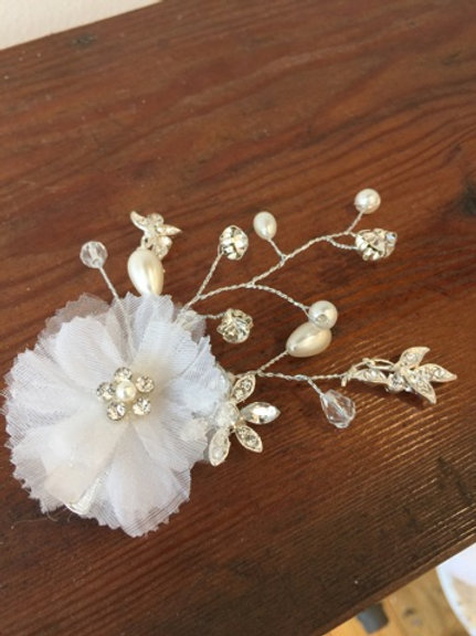 Chiffon, floral, crystal hair pin