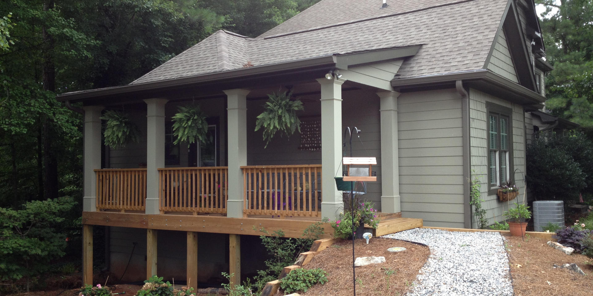 Side view of addition after landscaping.