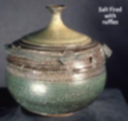 Salt Fired pot with ruffles