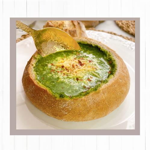 Crema de espinaca + 2 Pan bowl masa madre para sopa