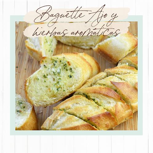 Baguette con ajo y hierbas aromáticas para hornear - 3 unidades