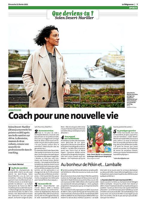 Article Le Télégramme : Solen Désert coach pour une nouvelle vie