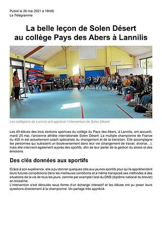 Article Le Télégramme : La belle leçon de Solen Désert au collège Pays des Abers à Lannilis