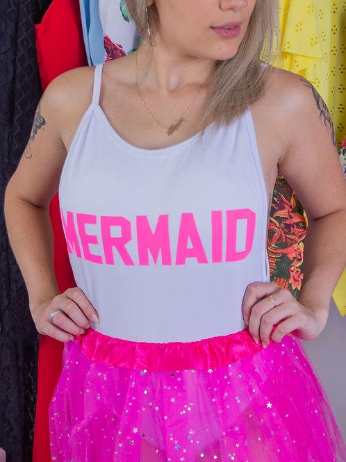 Body Mermaid Branco e Rosa