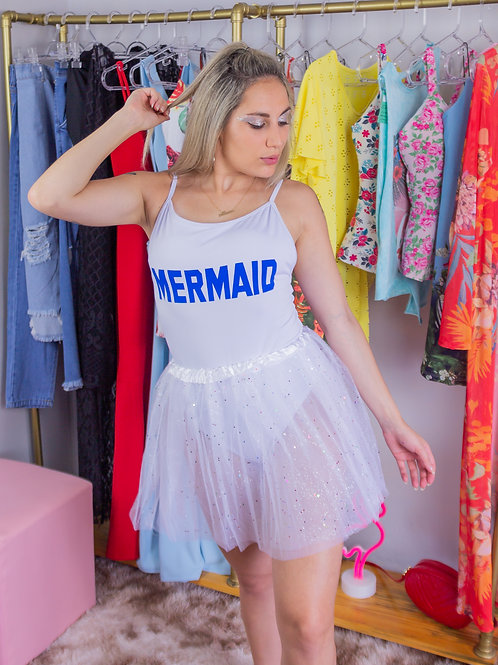 Body Mermaid Branco e Azul