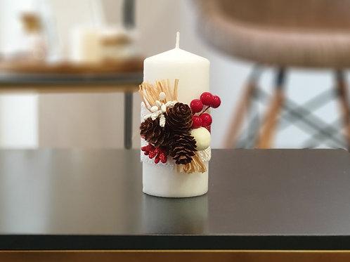 """Коледна свещ """"Бяла Коледа"""""""
