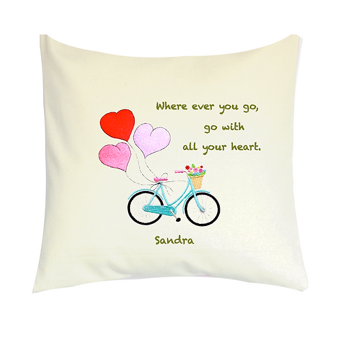 COJINES PERSONALIZADOS Bicycle with Heart Balloons