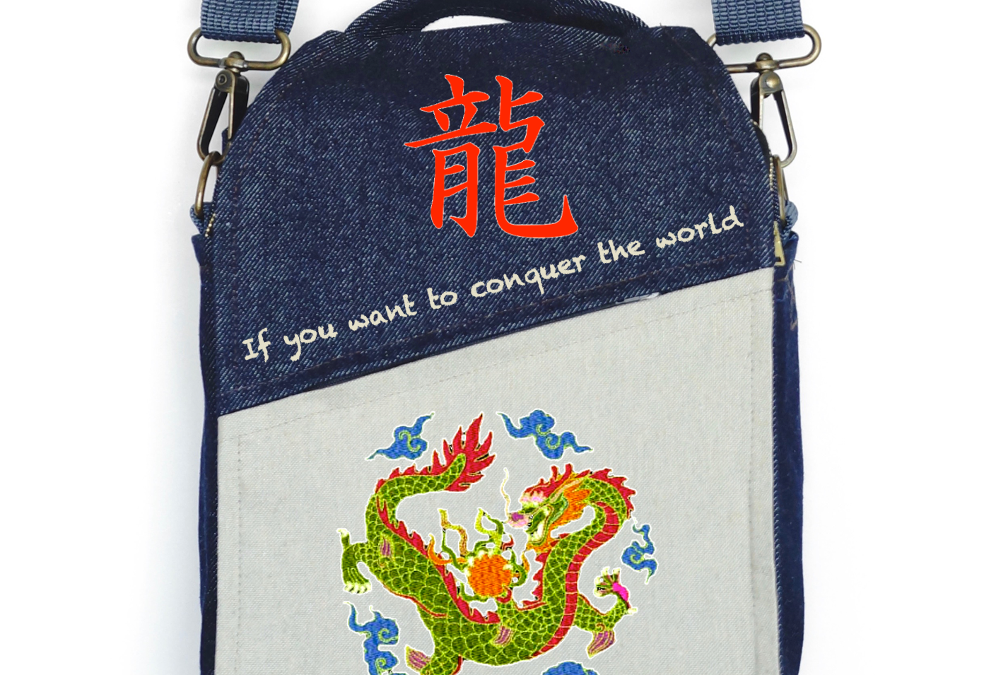"""CANVAS MESSENGER BAG """"The Power of Dragons"""""""