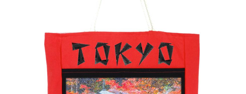 Frente de la Bolsa; en donde la tela que lleva el bordado hace también de bolsa exterior, la cual se cierra con un botón tipo snap.