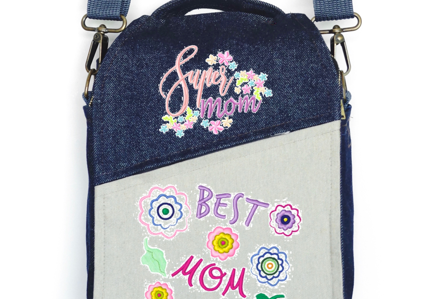 "CANVAS MESSENGER BAG ""Best Mom Ever"""