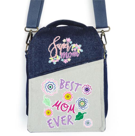 """CANVAS MESSENGER BAG """"Best Mom Ever"""""""