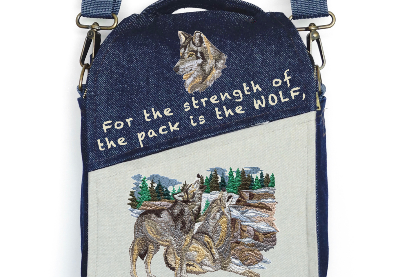 """CANVAS MESSENGER BAG """"The Strength of the WOLF"""""""