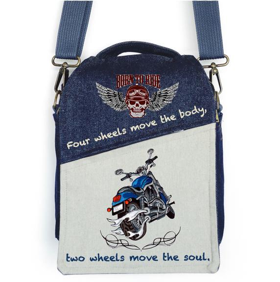 "CANVAS MESSENGER BAG ""Born to Ride"""
