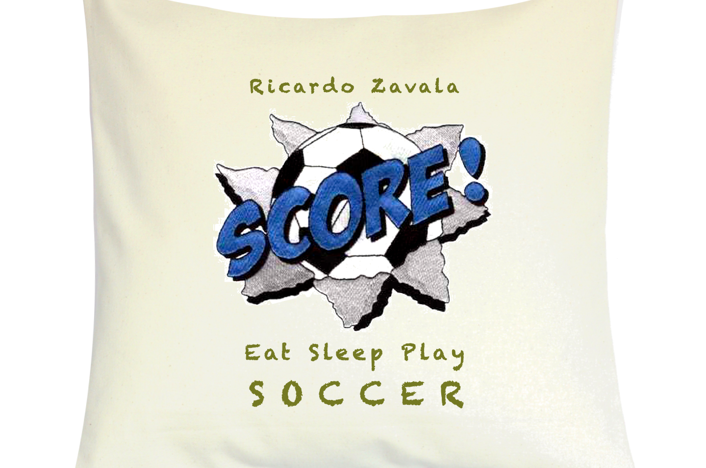 "Cojín Personalizado Modelo ""Eat Sleep Play Soccer"""