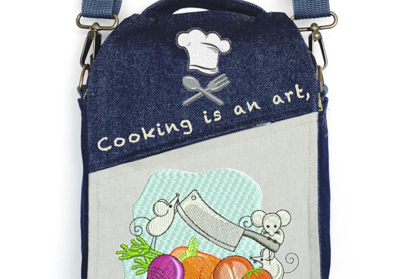 """CANVAS MESSENGER BAG """"Cooking is an Art"""""""