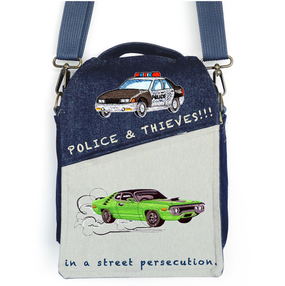 """CANVAS MESSENGER BAG """"Police & Thieves"""""""
