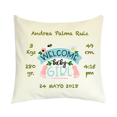 COJINES PERSONALIZADOS Welcome Baby Girl