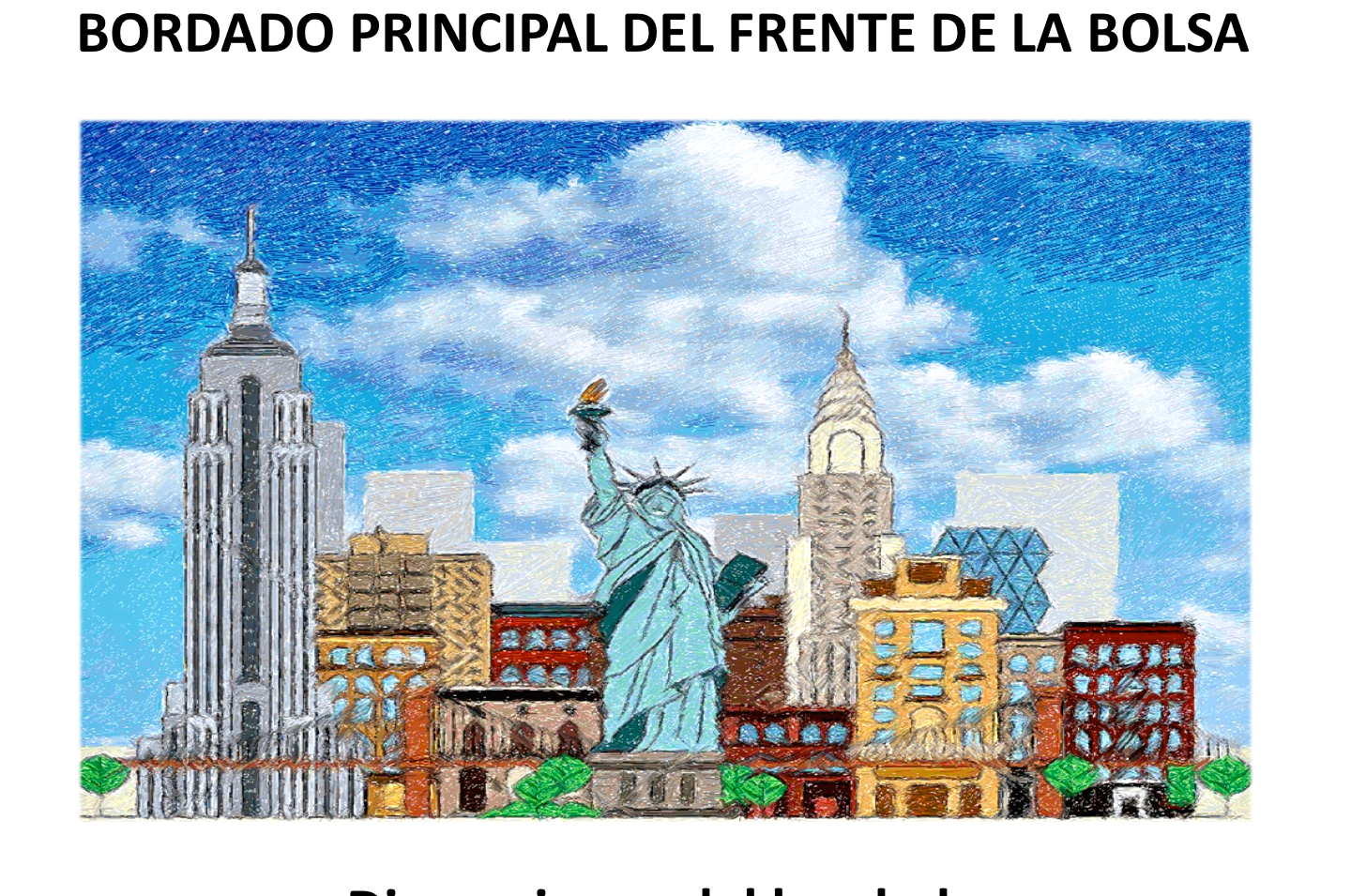 "Diseño: ""New York City and the Statue of Liberty""."