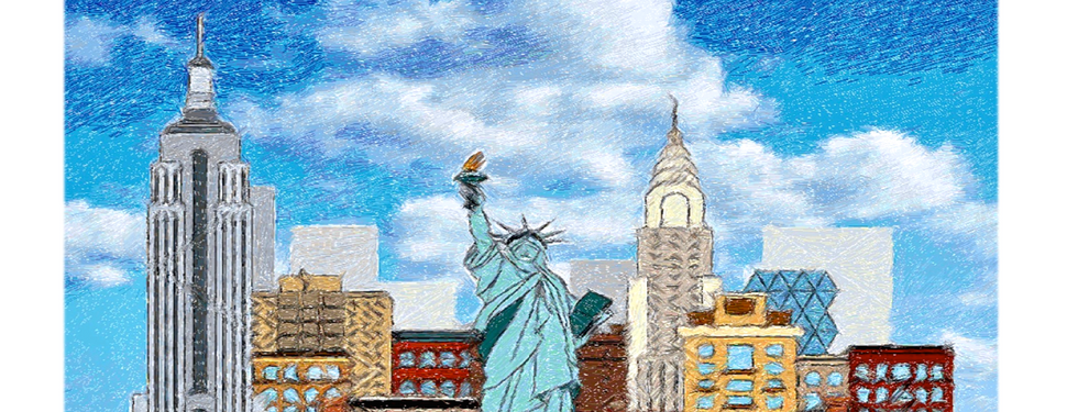 """Diseño: """"New York City and the Statue of Liberty""""."""