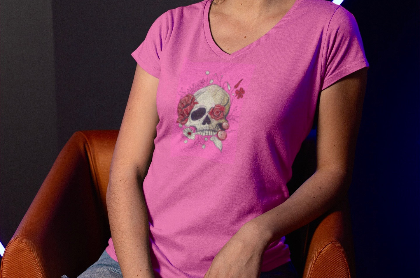 mockup-of-a-girl-wearing-a-v-neck-tee-an