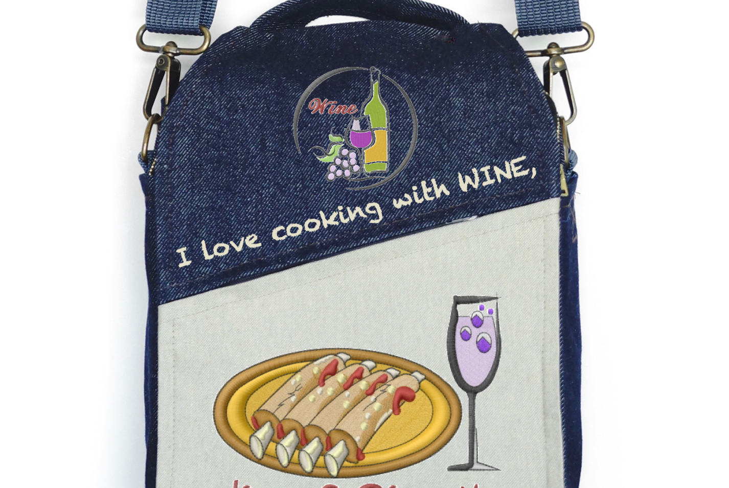 "CANVAS MESSENGER BAG ""I Love Cooking with WINE"""