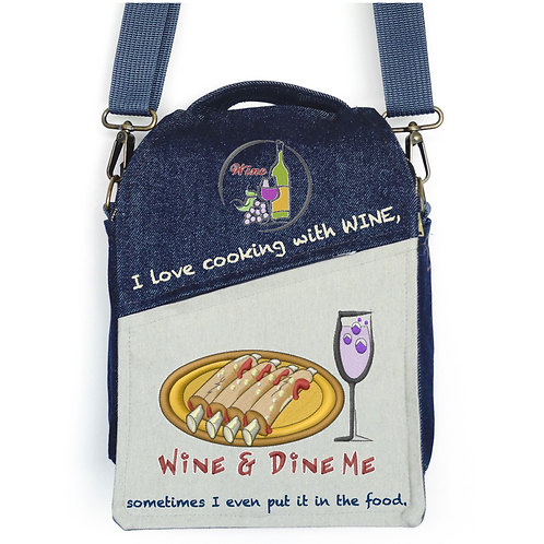 CANVAS MESSENGER BAG I Love Cooking with WINE