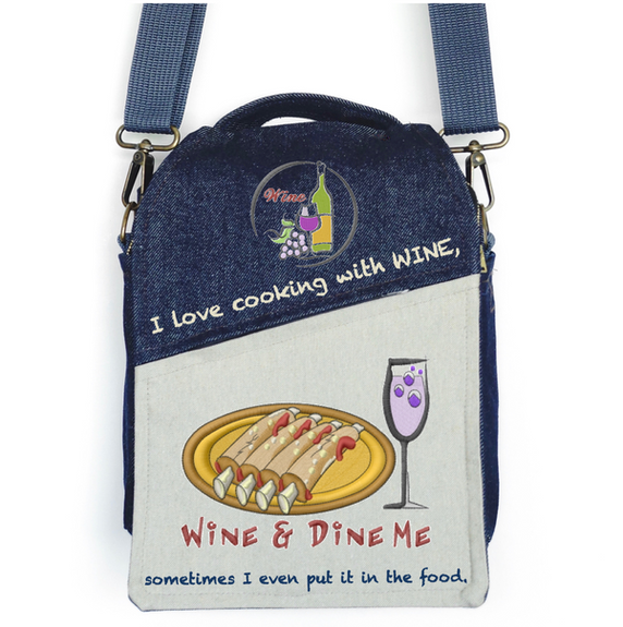 """CANVAS MESSENGER BAG """"I Love Cooking with WINE"""""""