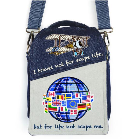 "CANVAS MESSENGER BAG ""Travel for Life"""