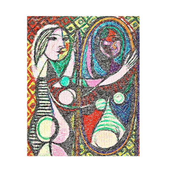 """Diseño del Bordado: """"Mujer ante el espejo"""""""