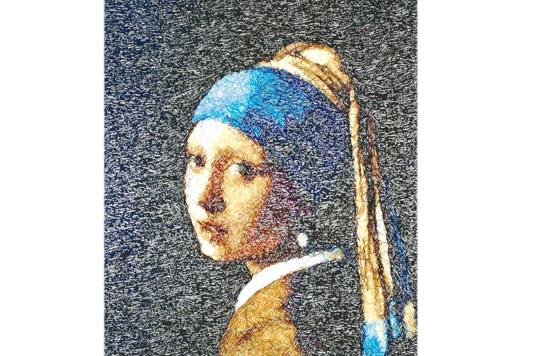 """Diseño del Bordado: """"Girl With A Pearl""""."""