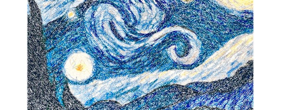 """Diseño del Bordado: """"La Noche Estrellada"""" Vincent Van Gogh"""