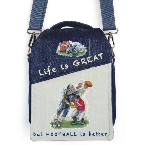 "CANVAS MESSENGER BAG ""Football is Great"""
