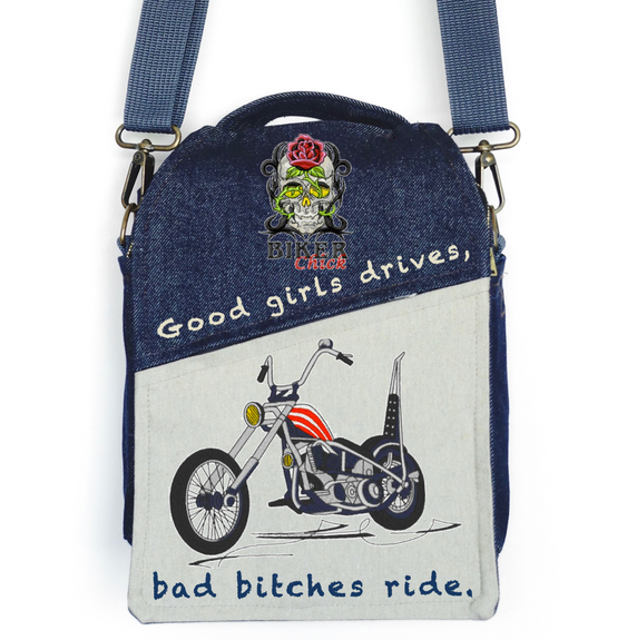 "CANVAS MESSENGER BAG ""Biker Chick"""