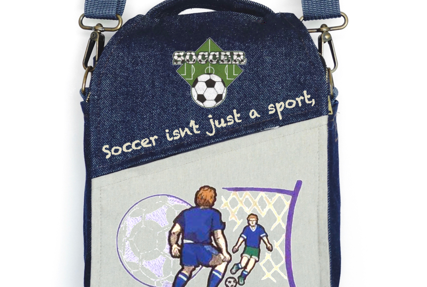 "CANVAS MESSENGER BAG ""Soccer is Life"""