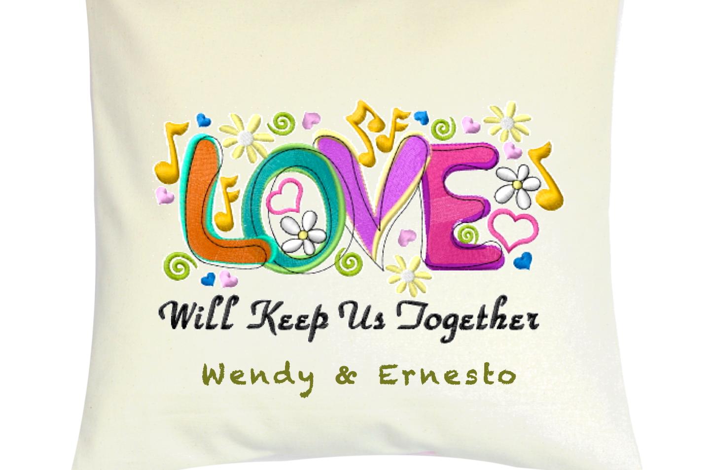 "Cojín Personalizado Modelo ""LOVE wil keep us together"""