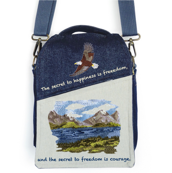 """CANVAS MESSENGER BAG """"The Secret to Happiness"""""""